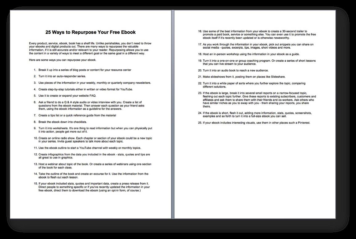 25 Ways to Repurpose Your Free EBook