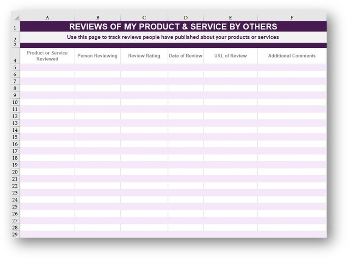 Master List - My Products & Services