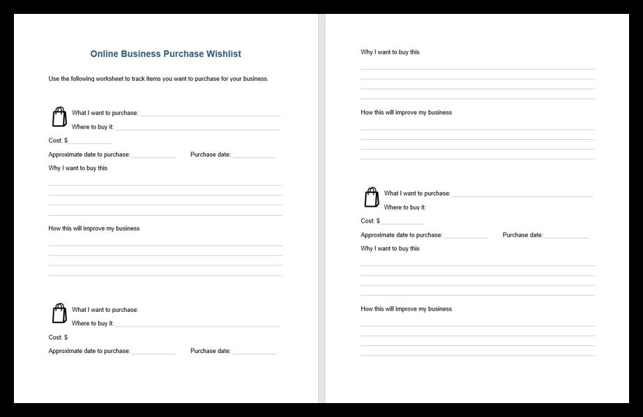 Online Business Purchase Wish list