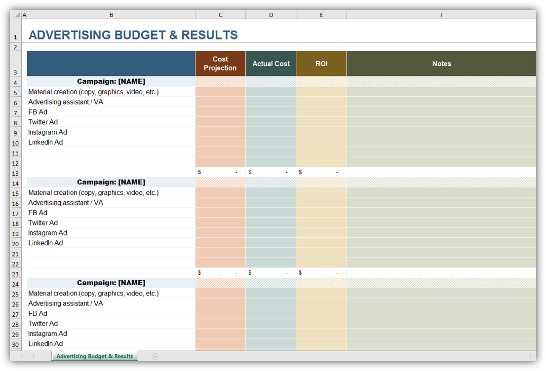Advertising Budget & Results Planner