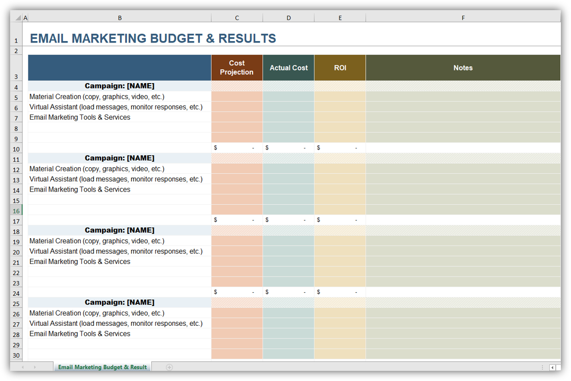 Email Marketing Budget & Results Planner