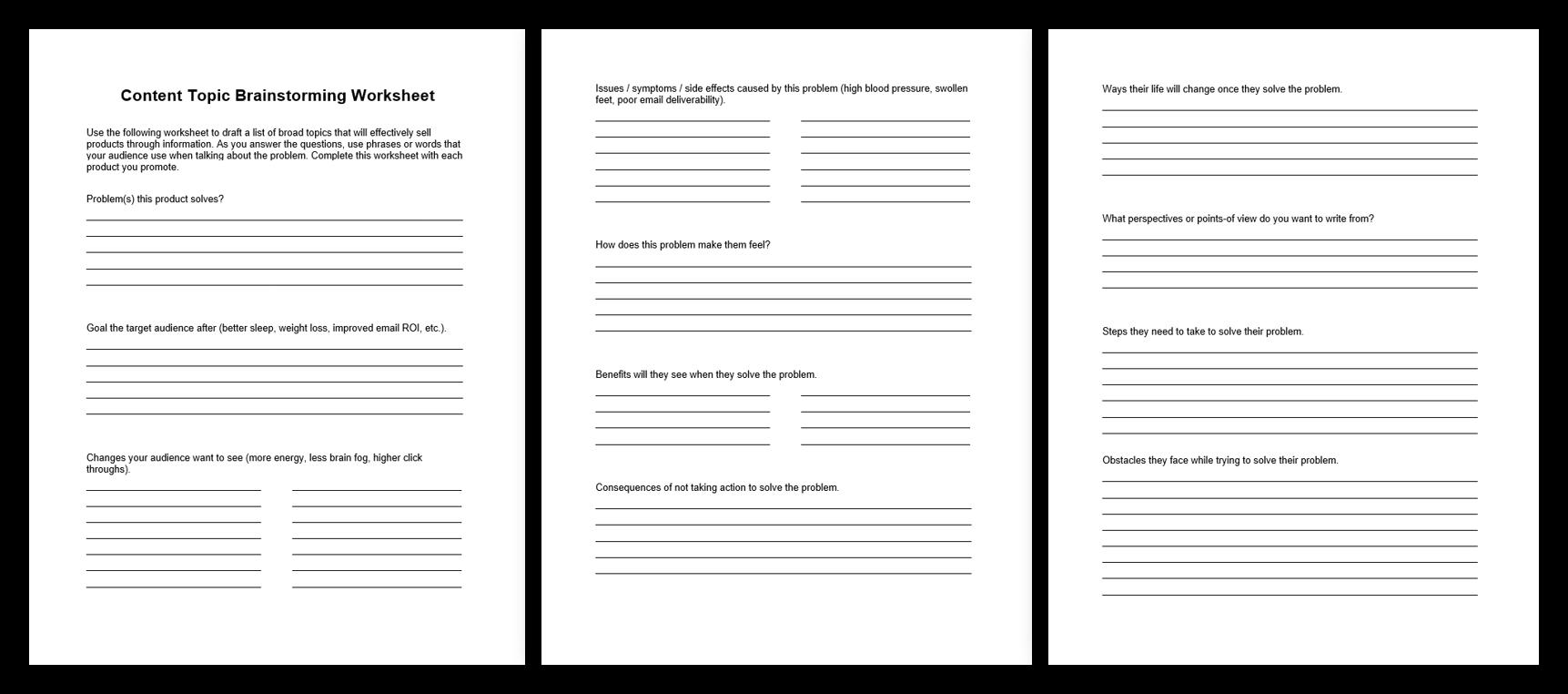 Content Brainstorming Worksheet