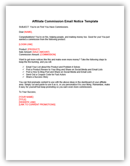 Affiliate Commission Email Notice image