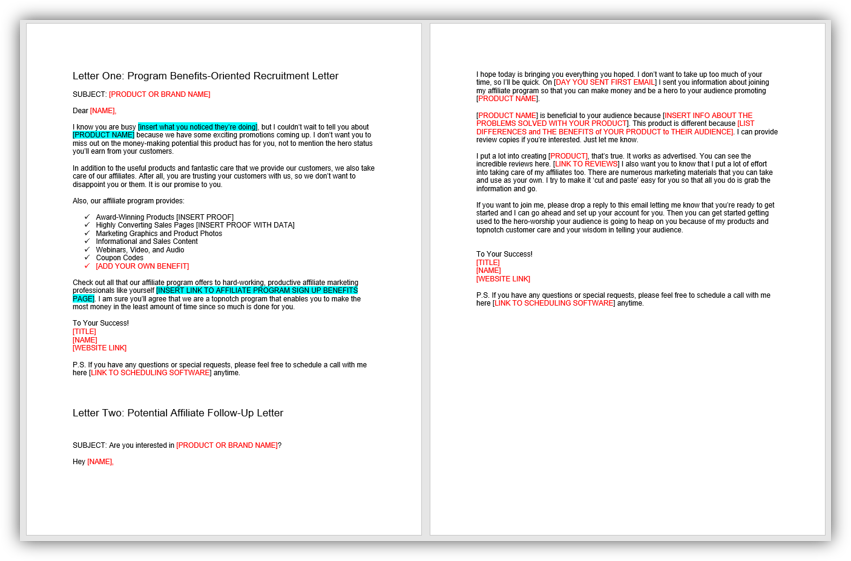 Affiliate Recruitment Letter and Follow Up