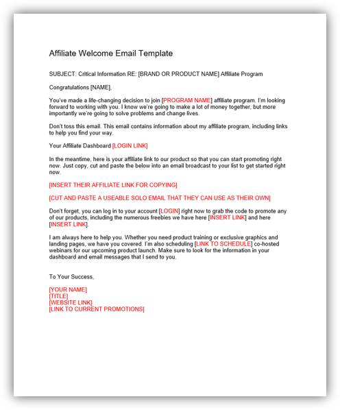 Affiliate Welcome Email Template