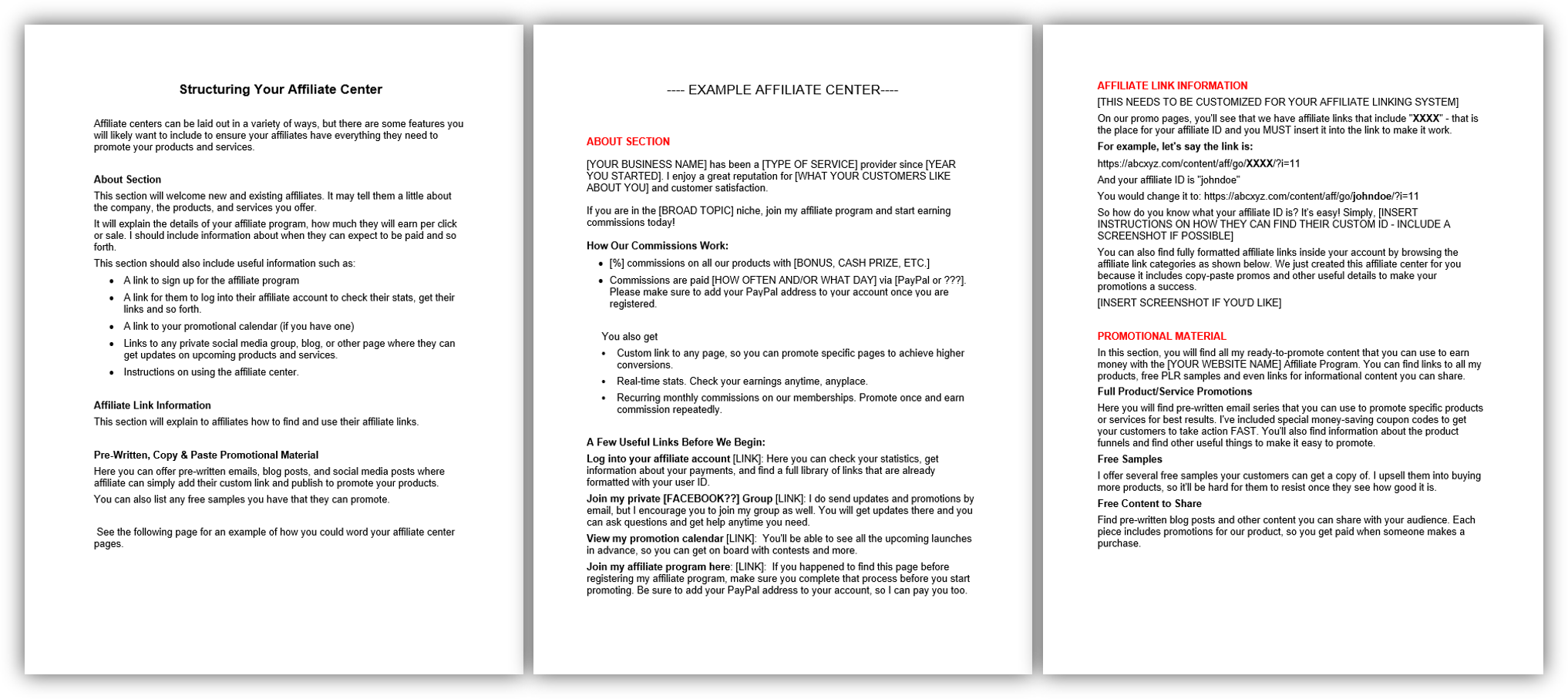 Structuring Your Affiliate Center Worksheet image