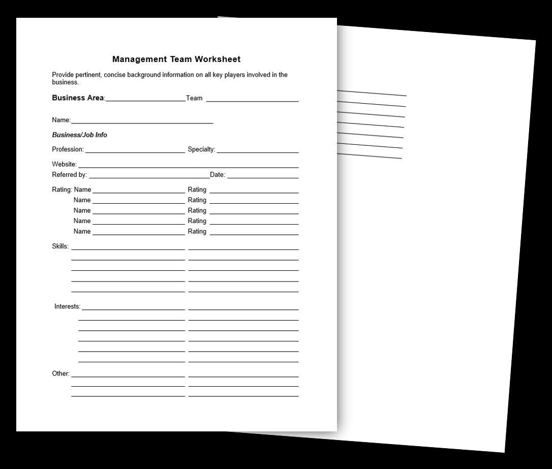 8. Management Team Worksheet Image