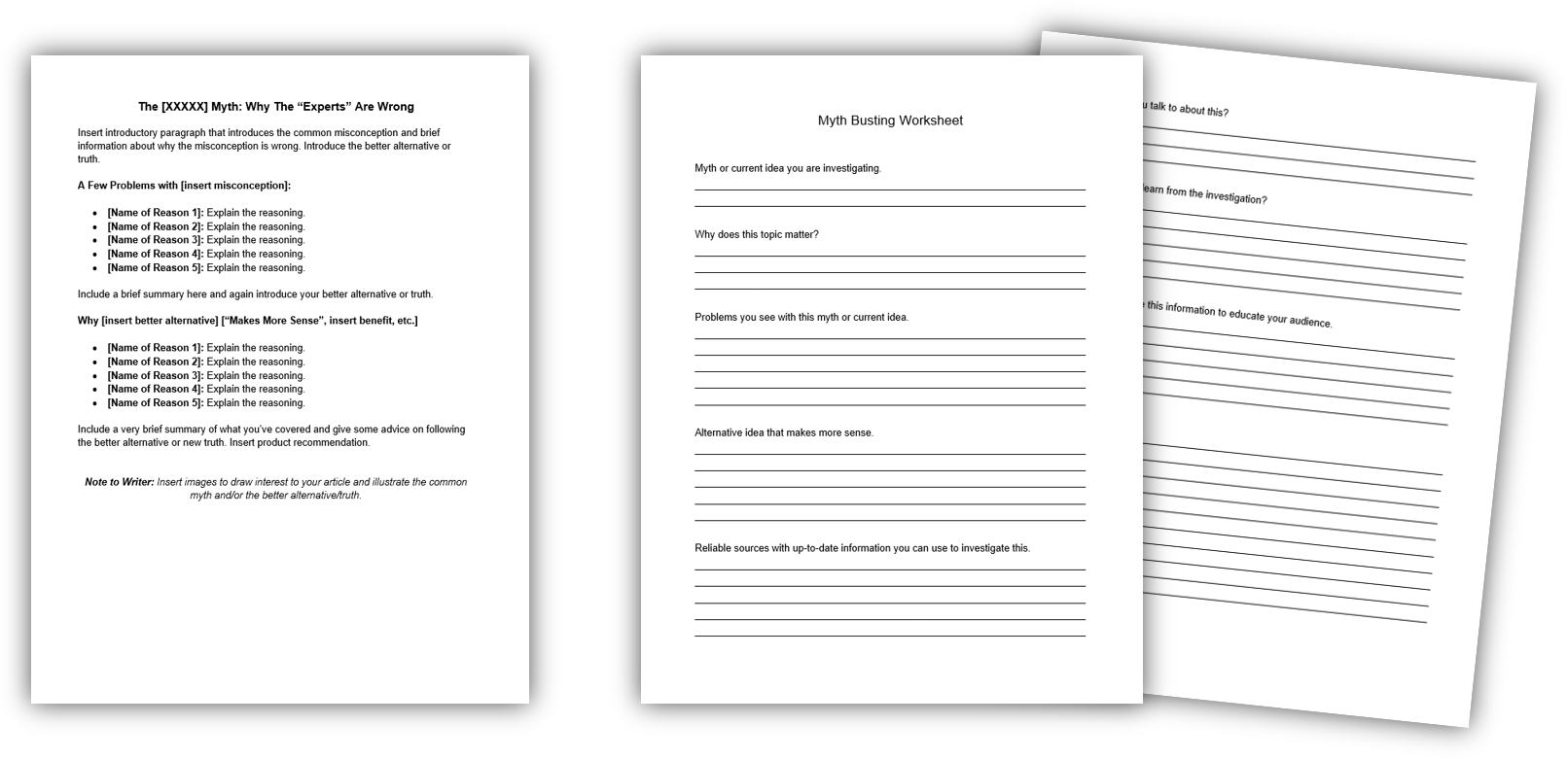Myth Buster Template + Worksheet IMAGE
