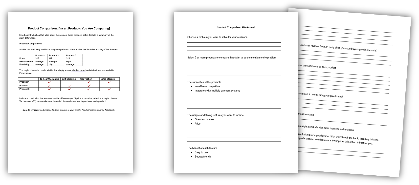 Product Comparison Template + Worksheet IMAGE