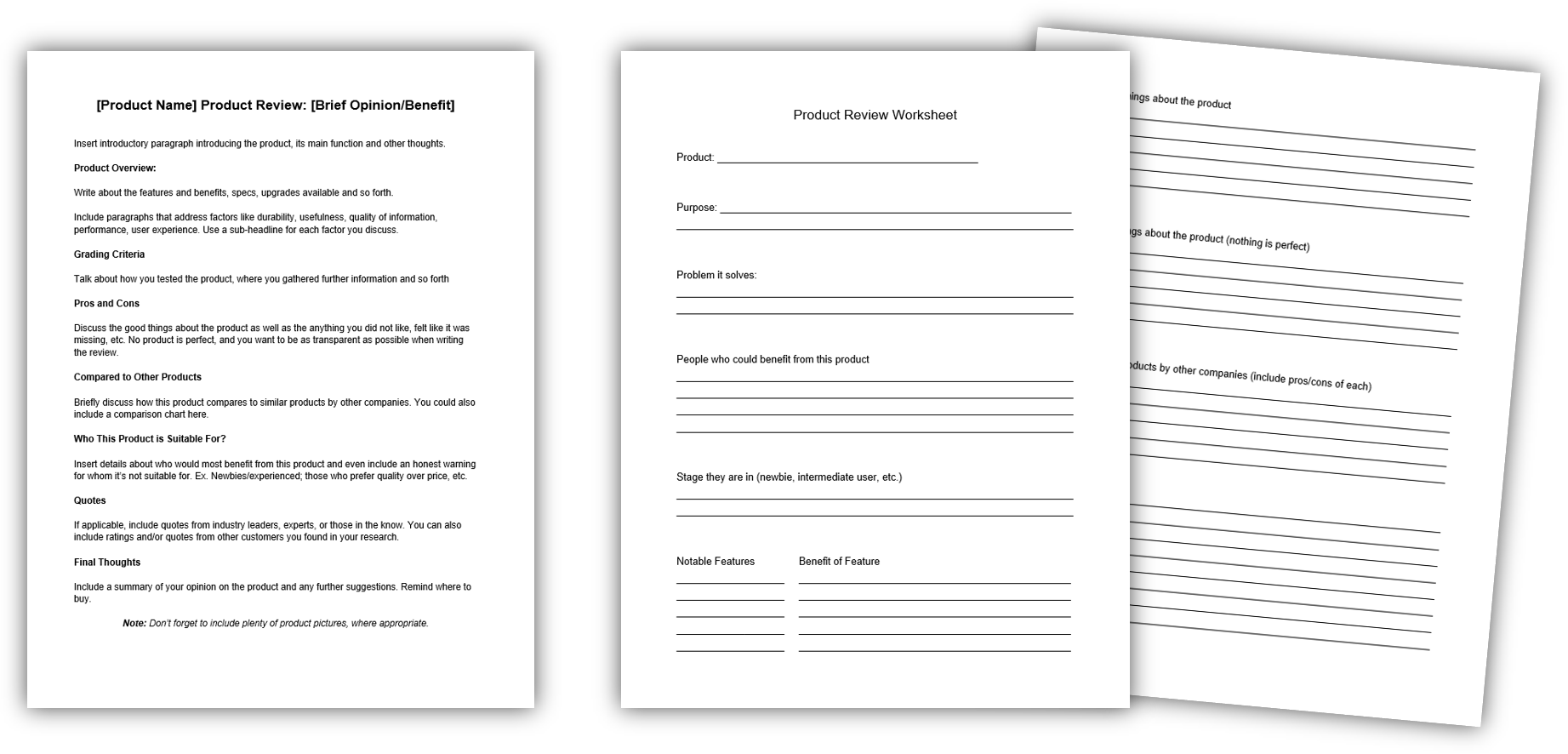 Product Review Template + Worksheet IMAGE