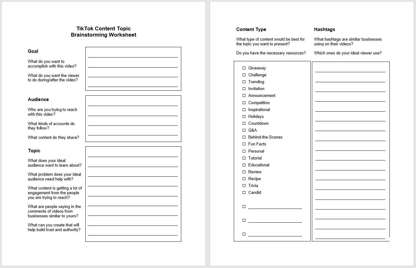 TikTok Content Topic Brainstorming Worksheet