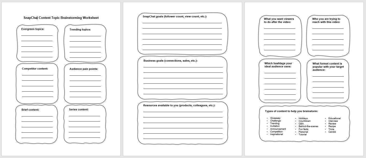 Snapchat brainstorming worksheet PLR