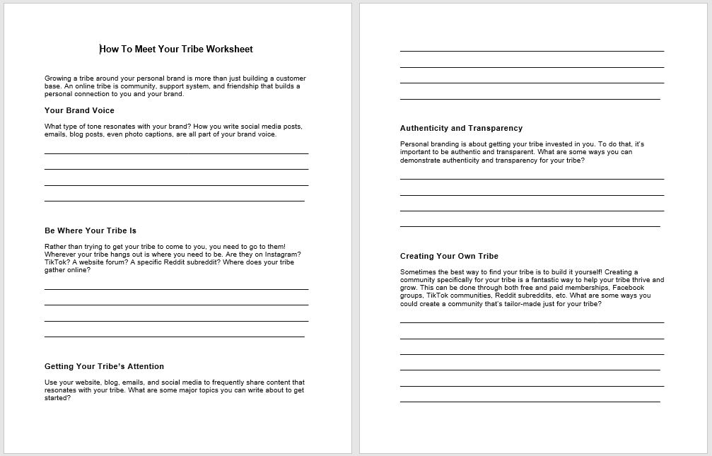 How to Meet Your Tribe PLR Worksheet